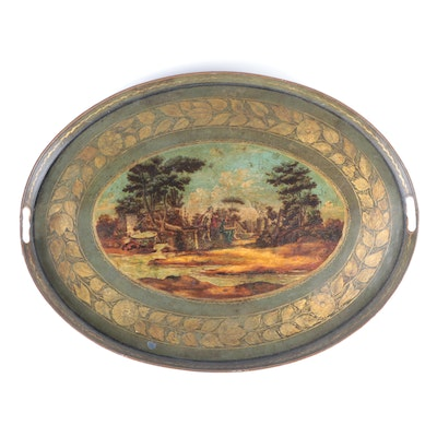 English Hand-Painted Oval Tole Tray, Late 19th to Early 20th Century