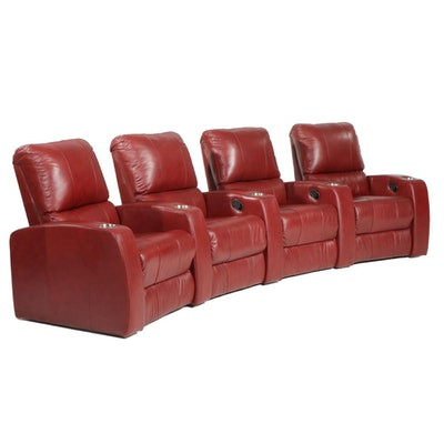 """Palliser """"Pacifico"""" Leather Four-Seat Theater Manual Reclining Seats"""