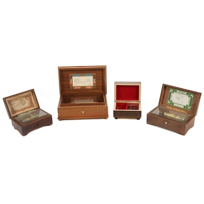 Four Wooden Music Boxes including Thorens and Reuge, 20th Century