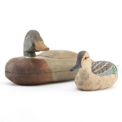 Guy Leslie and Leonard Hornick Handcrafted Wooden Duck Decoys, 1987