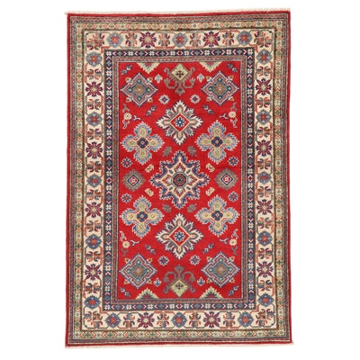 4'1 x 6'3 Hand-Knotted Afghan Caucasian Kazak Area Rug