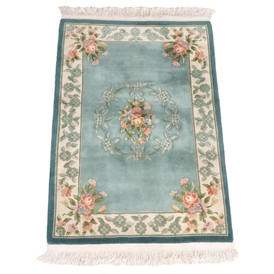 4' x 6'10 Hand-Knotted Ethan Allen Chinese Carved Pile Floral Area Rug