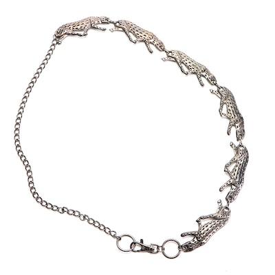 Decorative Panther Chain Link Gunmetal Belt with Lobster Claw Clasp
