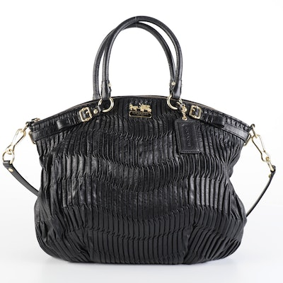 Coach Madison Two-Way Bag in Black Gathered Leather