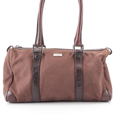 Gucci Boston Bag in Brown Woven Canvas with Leather Trim