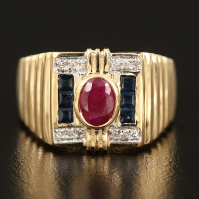 18K Ruby, Sapphire and Diamond Ring with Fluted Shoulders