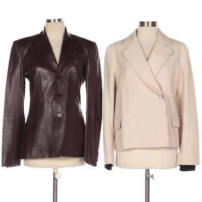 Ralph Lauren Black Label Brown Leather Blazer and Marc Jacobs Tweed Jacket