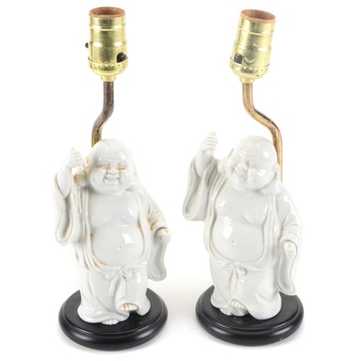 Pair of Blanc de Chine Standing Budai Table Lamps
