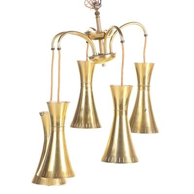 Mid Century Modern Gill Glass Conic Five Light Chandelier, Mid-20th Century