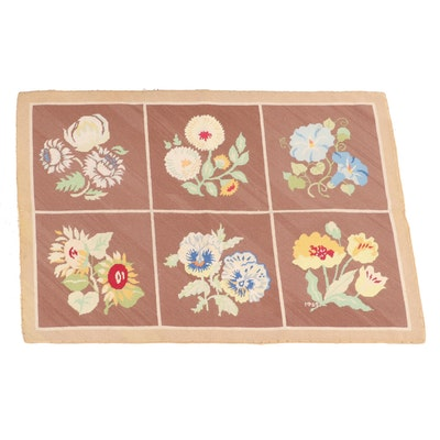 2'10 x 4' Handmade Needlepoint Floral Accent Rug, 1969