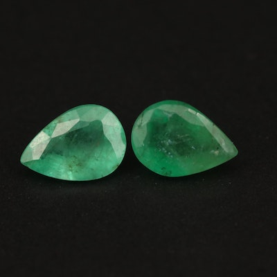 Loose 1.20 CTW Matched Pair of Emeralds