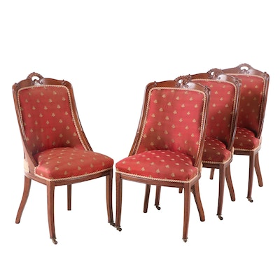 Four French Restauration Style Carved Oak Side Chairs, Mid-20th Century