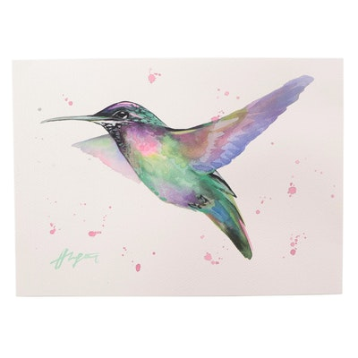 "Anne ""Angor"" Gorywine Watercolor Painting of Hummingbird, 2021"