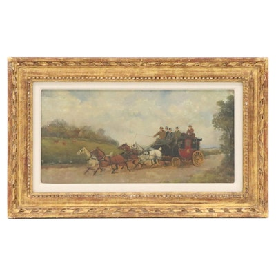 Philip Henry Rideout Oil Painting of Horse-Drawn Carriage, Early 20th Century
