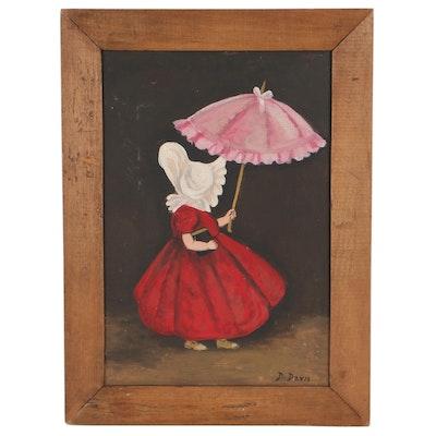 Dorothy Davis Folk Art Oil Painting of Girl With Parasol, Mid-20th Century