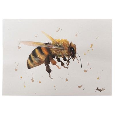 """Anne """"Angor"""" Gorywine Watercolor Painting of Honeybee, 2021"""