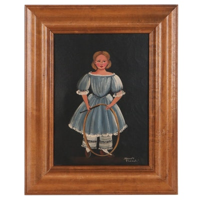 Maude Ciandi Folk Art Oil Painting of Girl with Stick Hoop, Mid-20th Century