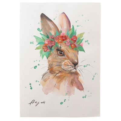 """Anne """"Angor"""" Gorywine Watercolor Painting of Rabbit, 2021"""