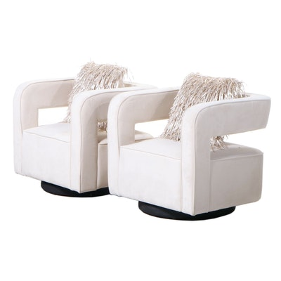 Pair of Vnice Furniture Co. Modernist Style Upholstered Swivel Club Chairs