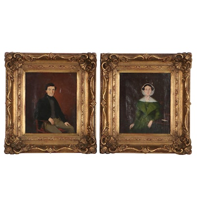 Folk Oil Portraits of Seated Woman and Man, Late 19th-Early 20th Century