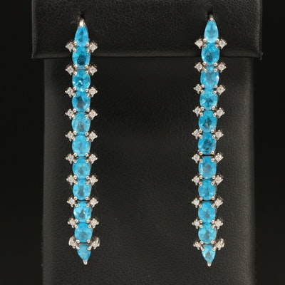 Sterling Apatite and Cubic Zirconia Line Drop Earrings