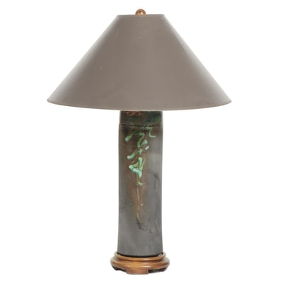 Raku Ceramic Base Table Lamp, Late 20th Century