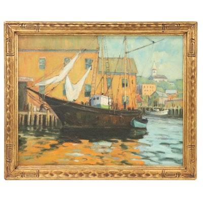 "George Herbert Baker Oil Painting ""Rockport Harbor,"" Mid-20th Century"