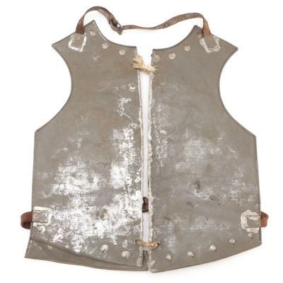 Two Paneled Metal Breastplate with Leather Straps