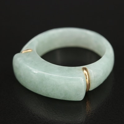 Carved Jadeite Bar Ring with 14K Accents