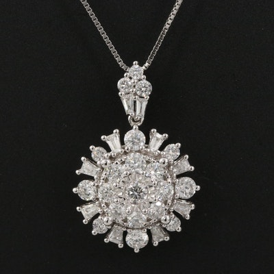 10K 1.01 CTW Diamond Cluster Pendant Necklace