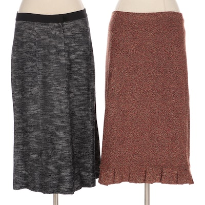 St. John Couture Pleated Hem and St. John Collection Panel Knit Tweed Skirts