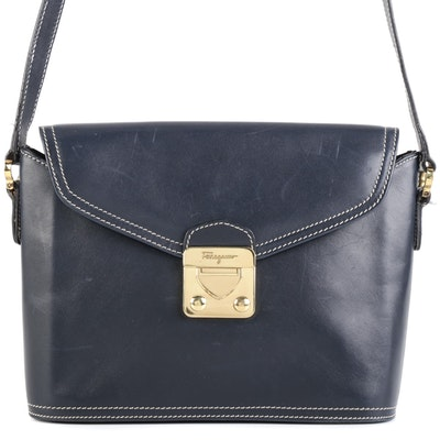 Salvatore Ferragamo Contrast Stitched Navy Blue Leather Front Flap Crossbody