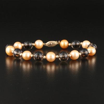 Pearl, Smoky Quartz and 14K Bead Bracelet
