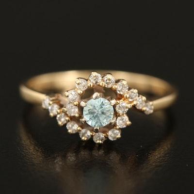 14K Blue Zircon and Diamond Bypass Ring