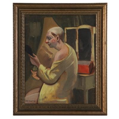 Robert Bark Yeatts Oil Painting of Clown, Mid-20th Century