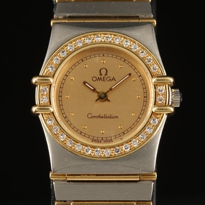 Omega Constellation 18K and Stainless Steel Diamond Bezel Quartz Wristwatch