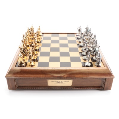 """""""Tournament At Camelot"""" Chess Set by Franklin Mint with Pewter Playing Pieces"""
