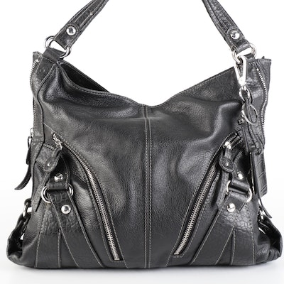 Etienne Aigner Large Zipper Tote Bag in Black Grained Leather