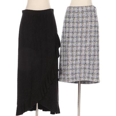 St. John Black Faux Wrap Ruffle Hem and Multicolor Bouclé Tweed Skirts
