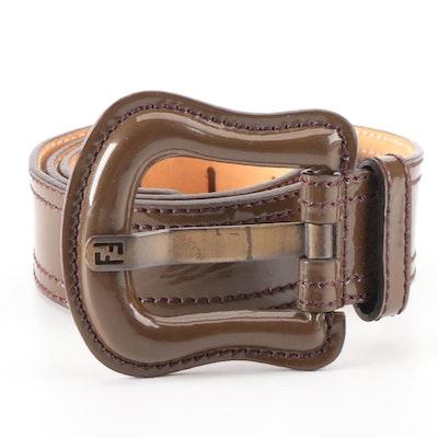 Fendi Belt in Olive Brown Patent Leather