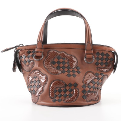 Bottega Veneta Tambura Handbag in Dark Brown-Black Intrecciato and Snakeskin