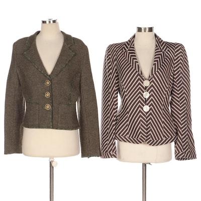Oscar de la Renta and Armani Collezioni Knit and Striped Jackets