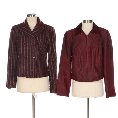 Carolina Herrera Alpaca Tweed and Leather Jacket and Tahari Calf Hair Jacket