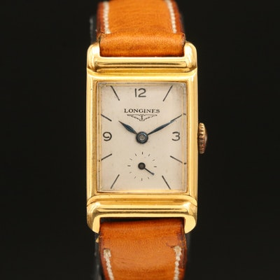 18K Vintage Longines Tank Shape Wristwatch