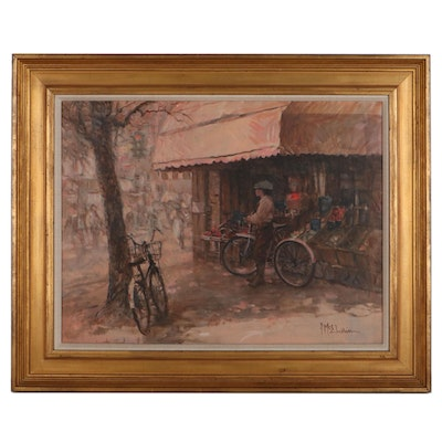 """Frank McElwain Oil Painting """"Between Deliveries,"""" Late 20th Century"""