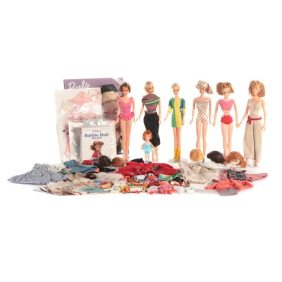 """Mattel Barbie Dolls Including Wigs, """"Barbie Fashion"""" Book and More"""