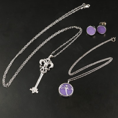 Sterling Silver Quench Crackled Quartz and Diamond Jewelry Featuring Dragon Fly