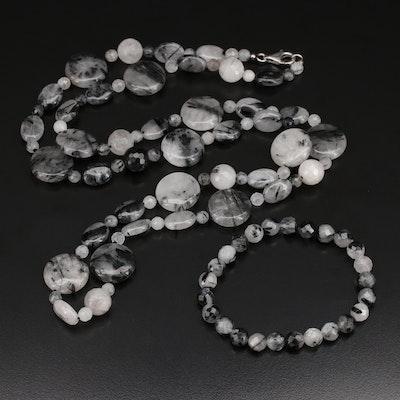Sterling Quartz Beaded Necklace and Bracelet