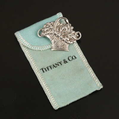 Vintage Tiffany & Co. Sterling Floral Basket Brooch with Pouch
