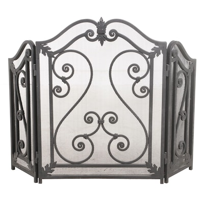 Iron and Wire Mesh Three-Panel Folding Fire Screen